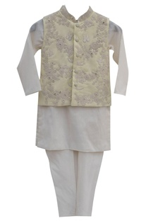 Lemon yellow cotton silk embroidered jacket with off white kurta & churidar