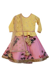 Pink floral printed lehenga with yellow embroidered blouse & dupatta