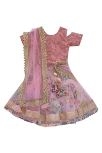 Pink net & dupion silk layered lehenga set
