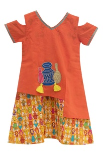 Orange cotton dress with patchwork detailing