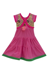 Pink cotton tiered style dress