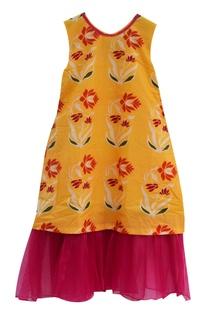 Yellow cotton printed dress