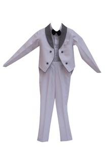 White suiting fabric formal jacket with dress shirt & pants