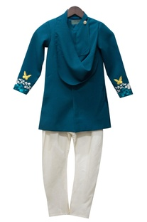 Teal blue achkan jacket with white churidar