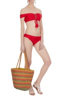 Off-shoulder tie-up neckline bikini set