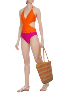 Color-block cutout halter monokini