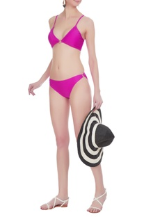 Pop colored cross-over back bikini set