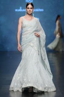 Aqua & sage mesh jaal pattern thread embroidered lehenga saree set