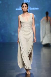 Pale gold sleeveless bead lurex metallic gown