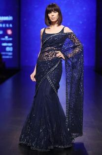 Blue sequin & bead hand embroidered lehenga saree with drape & blouse
