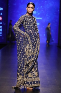 Blue zadozi embroidered pearl & sequin concept saree with blouse