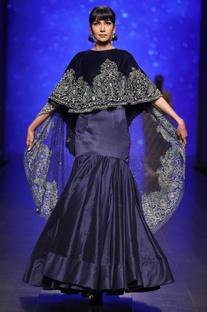 Royal blue velvet hand embroidered cape with dupion silk lehenga
