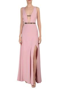Deep v-neckline gown with high slit