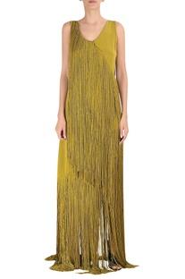 Tassel silk crepe gown