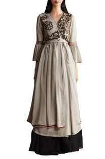 Grey georgette & chanderi anarkali with skirt