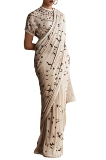 Lavender georgette bead embroidered saree with organza cape blouse