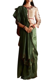Green georgette saree with organza blouse