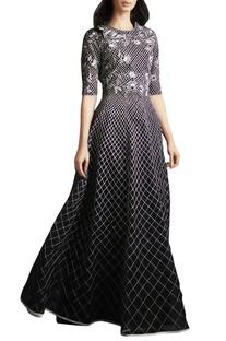 Black organza silk checkered pattern evening gown
