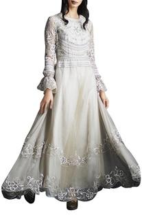 Champagne beige organza lucknavi embroidered gown