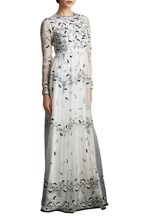 Black & white silk organza long garden dress