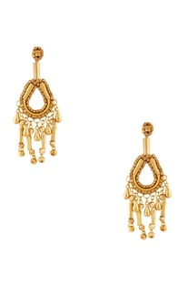 Gold plated cube bead earrings