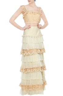 Beige crochet crop top with net ruflled crochet skirt