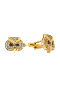 Gold & black brass handcrafted owl cufflinks