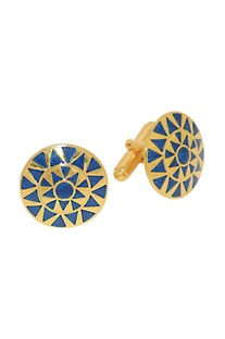 Gold plated blue handcrafted cufflinks