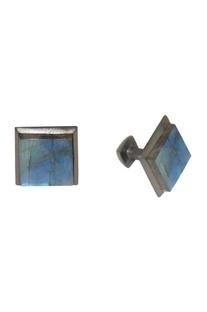 Black & blue handcrafted brass cufflinks