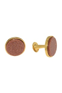 Peach shimmer & gold plated handcrafted cufflinks