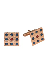 Multicolored & rose gold finish handcrafted square cufflinks