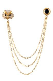 Gold brass embellished collar pin