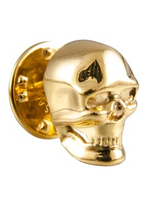 Gold brass statement skull tie pin