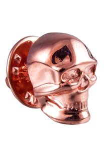 Rose pink brass statement skull tie pin
