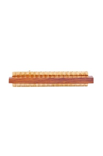 Gold bond metal & brown wood cube motif tie-pin