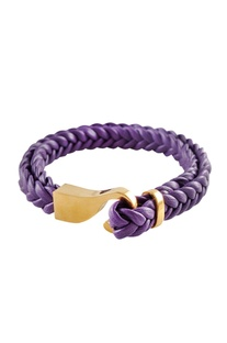 Purple brass braided leatherette wristband
