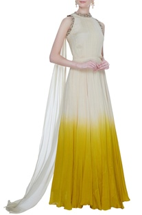 Ivory & yellow chiffon silk ombre gown with attached dupatta