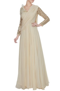 Ivory georgette saree gown