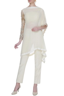 Ivory georgette silk kurta with pants