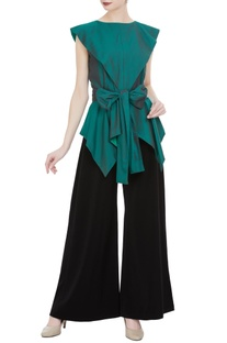 Asymmetric blouse with tie-up accents & flared pants
