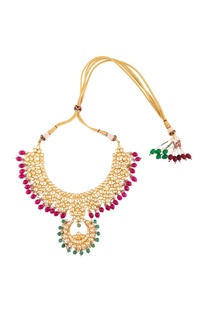 Kundan earrings with pink & green beads