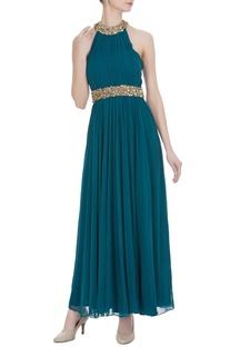 Pleated halter neckline gown