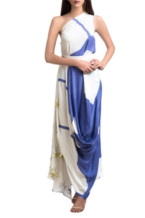 Blue & white one shoulder brush painted dress
