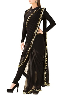 Black pre-stitched saree with full sleeve lycra blouse
