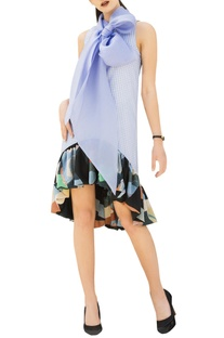 Blue gingham check high-low dress