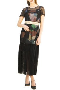 Multicolored printed sweetheart neckline dress with black tulle over-layer