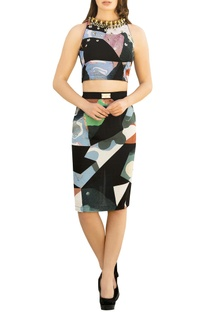 Multicolored georgette embroidered crop top with pencil skirt