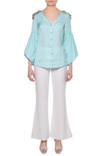Aqua blue satin shirt with bishop sleeves