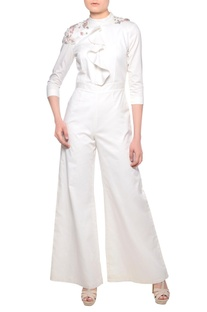 Off-white ruffle detail jumpsuit