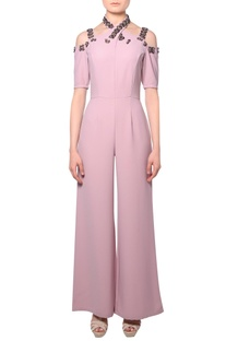 Pink criss-cross heavy crepe silk jumpsuit